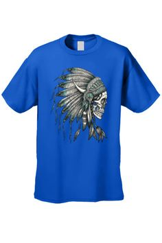 ee98cf896 Men's T-Shirt Native Chief Skull Tee Indian American Feathers Bones Indian  Feathers, Clothing