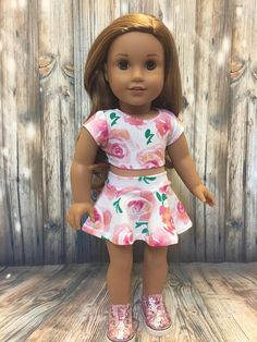2 piece outfit-fits American Girl Doll clothes 18 inch doll clothes skater  skirt crop top pink floral like AG doll clothes 2868ce0da