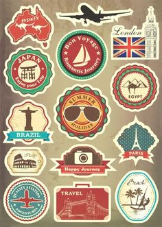 Famous Scenic Spot Vintage Car Sticker on Luggage Suitcase Trolley Travel Bag Guitar Stickers Skateboard Scooter Laptop Stickers Suitcase Stickers, Luggage Stickers, Band Stickers, Guitar Stickers, Phone Decals, Laptop Stickers, Posters Vintage, Tumblr Stickers, Travel Party