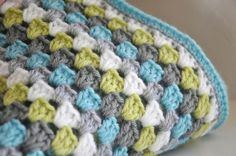 Color Inspiration ::  Granny in gray, light gray, white, aqua, & lime   . . .  ღTrish W ~ http://www.pinterest.com/trishw/  . . .  #crochet #afghan #blanket #throw