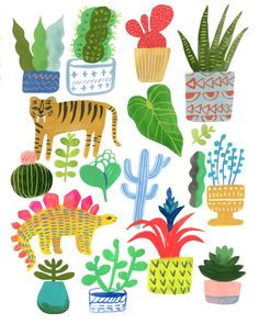 Dinosaur House Plant Party by Sarah Walsh by Tigersheepfriends