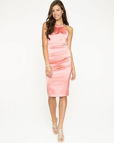 Satin Pleated Halter Dress
