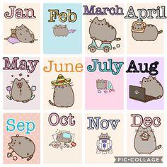 Pusheen and I both love February and December! Kawaii Doodles, Cute Kawaii Drawings, Cute Animal Drawings, Chat Kawaii, Kawaii Cat, Pusheen Stormy, Pusheen Love, Pusheen Stuff, Kawaii Wallpaper