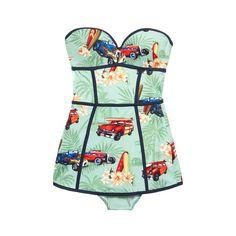 Stella Jean Tordo Hawaiian Cars Maillot ($350) ❤ liked on Polyvore featuring swimwear, one-piece swimsuits, swimsuits, modaoperandi, swim, strapless shelf bra, swim wear, balconette swimsuit, swim suits and hawaiian swimsuits
