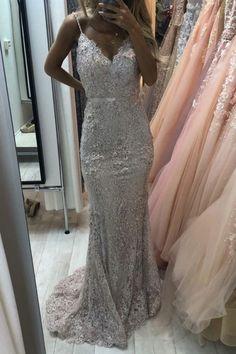 Elegant Mermaid V Neck Lace Dresses Spaghetti Straps vp7456 by VestidosProm, $149.96 USD