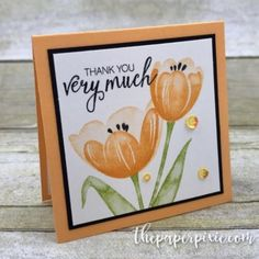 Today's project is a mini card using Stampin' Up!'s Tranquil Tulips (host) and Bunch of Blossoms stamp sets! Ooh, I love making minis! I have a little pocket in my purse where I keep a stash of mini cards to give to someone who's made my day! Stampin Up Anleitung, Stampin Up Karten, Scrapbooking, Scrapbook Cards, Note Cards, Thank You Cards, Stamping Up Cards, Rubber Stamping, Stampin Up Catalog