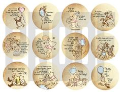 Classic Winnie The Pooh Cupcake Topper Digital File for $4.99 by TagsforTots