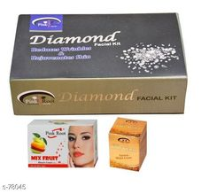 Checkout this latest Masks Product Name: *Pink Root Diamond Facial Kit, Mix Fruit and Gold Bleach Cream Pack of 3 * Name: PR-FACIAL-DIAMOND-BLEACH-GOLD-MIX Size: 180 Grams Dimension: (L X B X H) - 15 cm X 10 cm X 6 cm Description: Pink Root Diamond Facial Kit Mix Fruit and Gold Bleach Cream Pack of 3 Country of Origin: India Easy Returns Available In Case Of Any Issue   Catalog Rating: ★4 (331)  Catalog Name: Beauty Products For You CatalogID_7877 C170-SC2014 Code: 133-78045-045