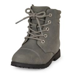 Baby Girls Toddler Lace-Up Ginger Combat Boot - Gray - The Children's Place