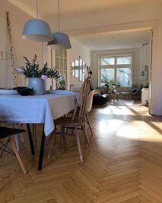 Sonne durchflutet die Wohnung - Helles Wohn- und Esszimmer in weiß/grau/braun - Lampen aus Beton/Fischgrätenparkett/Holzstühle/Pflanzen