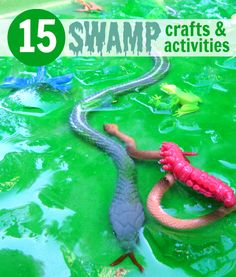 Swamp crafts and activities for kids. Jello swamp in the water table! Sensory Activities, Craft Activities For Kids, Summer Activities, Preschool Activities, Projects For Kids, Crafts For Kids, Activity Ideas, Kid Activites, Bug Crafts