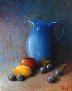 Original oil painting - x Large Jug and Fruit, An oil painting by Irish still life artist Chris Quinlan. An oil painting on linen panel a large blue jug, and fruit, completed Mar Oil Painting Trees, Still Life Oil Painting, Fruit Decoration For Party, Paintings For Sale, Original Paintings, Vegetable Crafts, Still Life Artists, Irish Art, Fruit Of The Spirit