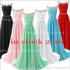 Lovely Pink Blue White Crystal Prom Party Dresses with Lace-up Back 2015 IN STOCK Crew Beaded Black Red Mint Formal Gown Dresses for Women Online with $69.11/Piece on Magicdress2011's Store | DHgate.com