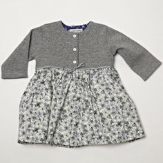 Knitted and Liberty Print Dress - Grey