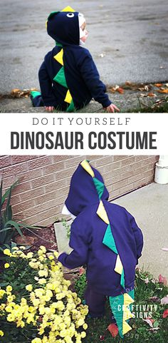 Have a little dinosaur fan? Try this DIY Dinosaur Costume, a fun, and colorful Halloween costume idea for a toddler, preschooler, or child! | DIY Dinosaur Costume | Handmade Dinosaur Costume | DIY Halloween Costume | #diydinosaurcostume #dinosaurcostume #halloweencostume