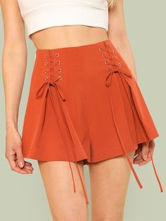Shop Grommet Lace Up Side Pleated Shorts online. SheIn offers Grommet Lace Up Side Pleated Shorts & more to fit your fashionable needs.