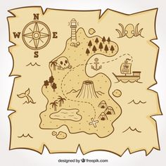 Pirate map for the treasure hunt Free Vector Treasure Hunt Map, Treasure Maps For Kids, Finding Treasure, Pirate Treasure, Pirate Theme, Boat Sketch, Pirate Maps, Kid Character, Flat Design