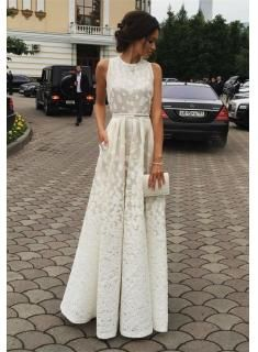 Gorgeous White Sleeveless 2016 Lace Floor Length