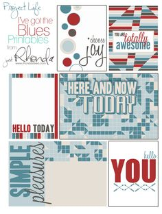 Free I've Got The Blues Printables for Project Life From Just Rhonda