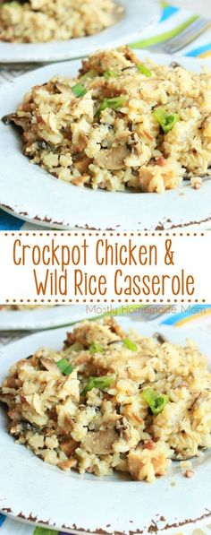 Crockpot Chicken and Wild Rice Casserole - This classic comfort food casserole is prepared in the slow cooker! Chicken, wild rice, mushrooms, and seasonings - the perfect Crockpot recipe for a busy weeknight!