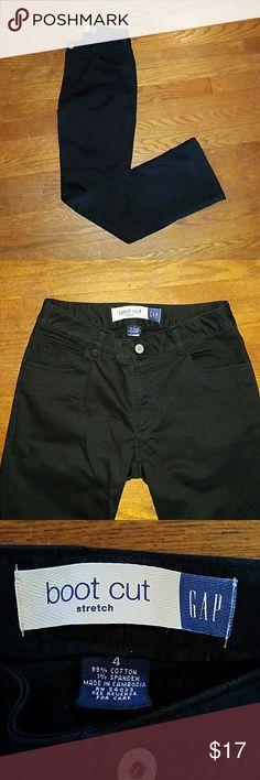 Gap- black, stretch, boot cut pants - 4 Excellent black, boot cut, pants.  Size 4. 99% cotton,  1% spandex. Great pocket room! GAP Pants