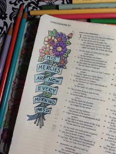 "Lamentations - ""New Mercies"" - Bible Journaling by Nola Pierce Chandler Bible Prayers, Bible Scriptures, Bible Quotes, Scripture Art, Bible Art, Beautiful Word Bible, Bible Doodling, Bible Illustrations, Lamentations"