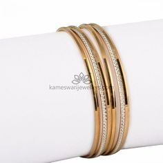 Elegant gold bangles collections by Kameswari Jewellers. Buy gold bangles online from South India's finest goldsmiths with 9 decades of expertise. Gold Bangles Design, Gold Earrings Designs, Gold Jewellery Design, Bead Jewellery, Silver Bracelets, Bangle Bracelets, Silver Rings, Diamond Jewelry, Gold Jewelry