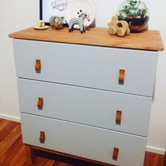 My nursery tarva ikea drawer hack. Really love these leather handles I got on @Etsy from BengjyMinu. #EtsyStar
