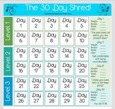 Jillian Michael's 30 day shred. On My 5th time around and forgot to take measurements in week 1.. This is an awesome chart.