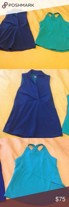 """Two Gorgeous Lululemon Tops Lululemon, one teal racer back top and one dark blue v-neck top. I can not find the sizing tags. They are a little big on me, so they fit like an 8. Measurements: bust: 16"""". Pre-loved, gorgeous condition, like new! lululemon athletica Tops"""