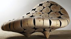 Side View of Curved Wood Chair by Jaehyo Lee