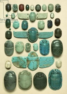 Selection of Scarabs, First Intermediate Period (c.2150-2007 BC) to Late Period (664-337BC) Ancient Egyptian (faience, red & green jasper & ...