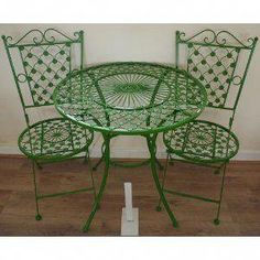 Metal Garden Table, Garden Table And Chairs, Patio Chairs, Arm Chairs, Adirondack Chairs, Patio Dining, Outdoor Dining, Dining Table, Outdoor Decor