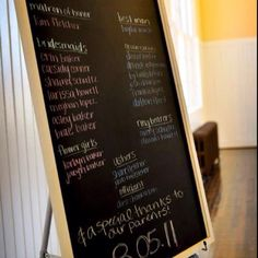 Chalk board wedding program! Such a good idea since people just throw them away anyway....