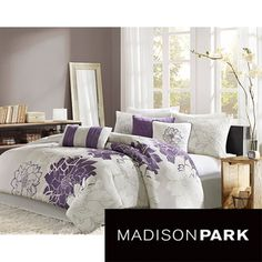 @Overstock - This seven-piece floral comforter set gives your bedroom cozy charm. This white and purple floral set includes a comforter, a bedskirt, two pillowshams, and three pillows. It has everything you need to make dressing up your bedroom easy and convenient.http://www.overstock.com/Bedding-Bath/Madison-Park-Bridgette-Seven-piece-Floral-pattern-Cotton-Comforter-Set/7110737/product.html?CID=214117 $109.99
