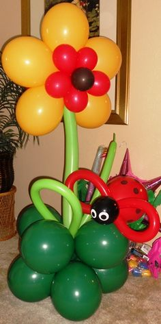 Adorable Sunflower and Ladybug Balloon Art
