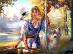 HD Print Still life on canvas oil painting , The blonde hunter with a Wolf 16x24