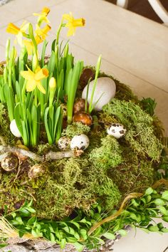Osterdeko mit Natur: DIY Osternest mit Moos, Holzkorb, Narzissen, Eiern, Buchs. Einfach selbermachen Easter Flowers, Easter Table, Engagement Ring Cuts, Easter Wreaths, Tulips, Diy And Crafts, Seasons, Spring, Plants