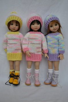 "27. Sweater & Hat - PDF Knitting Pattern for Dianna Effner 13"" Little Darling Dolls"
