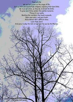 """""""Tree of Life"""", photo and poem by Marian Bell.   Tree of Life:  We are but actors on the stage of life.  Just as trees are masterfully stripped, exposing their bare limbs  We must all strive, as they do, to break the limits  To grow and thrive amidst the painful moments  Thrown in our paths  Blocking the corridors that lead to growth.  Open your arms, and your heart  And embrace life's difficult times  Learn from them  And grow to play the role set out just for you by the Master."""