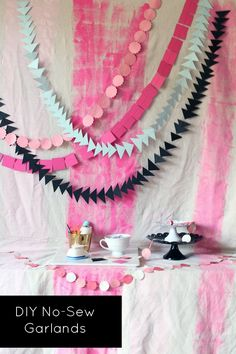 DIY:: No-Sew Triangle Garland (and Circle and Square): Supplies: •Paper (used cardstock) •String (used thread, twine, and monofilament) •Pencil •Ruler •Scissors •Thumbtack •Needle •Paper punches. Directions @: http://shoes-off-please.com/2013/10/14/diy-no-sew-triangle-garland-and-circle-and-square/