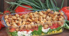 Super na grilla oraz kolację kolorowa sałatka z grzankami i sosem szczypiorkowym Green Beans, Grilling, Chicken, Meat, Vegetables, Impreza, Crickets, Vegetable Recipes, Veggies