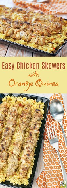 This Easy Chicken Skewers with Orange Quinoa recipe is ideal for grilling cookouts and tailgates. Click to get this gluten free spicy orange chicken recipe.