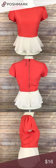 "Coral Cream Colorblock Peplum Blouse Medium Bust: 18"" Waist: 15"" Length: 23""  Back exposed zipper  Condition: No Rips; No Stains  100% Polyester   📦I ship orders within 24 Hours! {Except Weekends}📦  🚫No Trades🚫No Holds🚫 Tops Blouses"