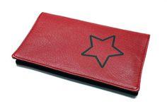 porte-chéquier rouge en faux cuir homme femme modèle étoile
