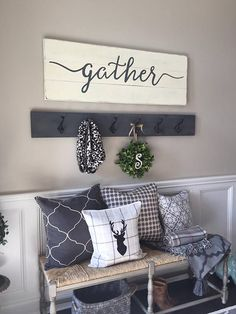 This gather wood sign is the perfect wall decor to keep up year round. It has a slightly rustic look which will give your room a cozy feel. *This sign is appx. 48 wide x 16.5 high. *The lettering is hand painted. *The base is a distressed antique white. *The lettering is a charcoal gray. *It includes a sturdy wire hanger already installed on the back. *If youd like to purchase more than one sign from our shop, we will package your signs together, (sizes permitting) and refund you whatever…