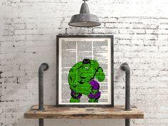 Hulk Poster, Avengers, Marvel, Comic Art, Superhero, Wall Art Print, Dictionary Print, Dorm Room, Playroom Decor, Geek Poster, The Hulk, 119