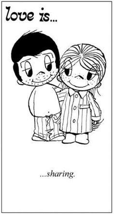 """Love is... sharing"" comic strip by Kim Grove Casali #loveis #kimcasali #1970s #seventies #love - Carefully selected by GORGONIA www.gorgonia.it"