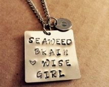 Percy Jackson Necklace- Seaweed Brain Heart Wise Girl Metal Stamped Jewelry