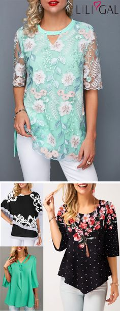 Spring Summer Cute Tops for women - Sewing Inspirations - Modetrends Tee Dress, Tunic Blouse, Belted Dress, Summer Tops, Spring Summer, Summer Outfits, Cute Outfits, Mode Chic, Blouse Designs